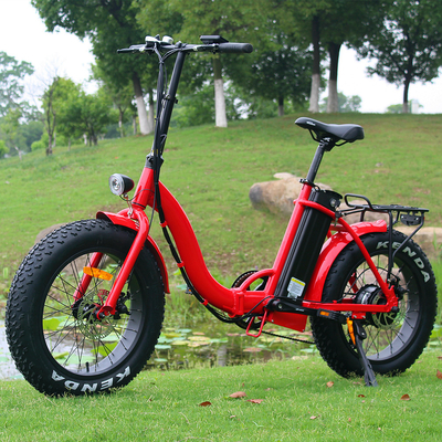 Popular 20 Inch Folding Electric Bike Red Color Motor Power 48V 500W CE Approved